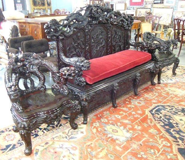 19th c. 3 piece heavily carved salon set