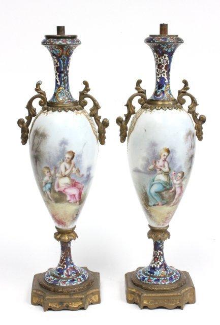 Pair porcelain & enamel garniture