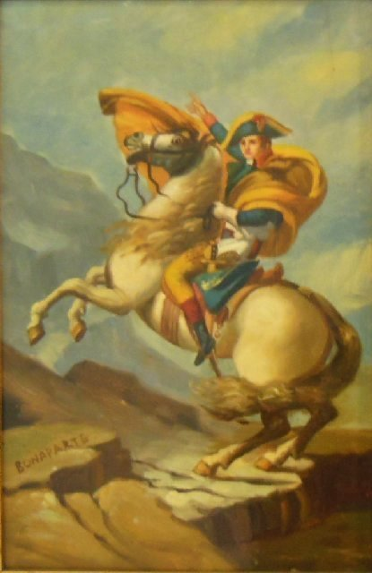 20th c. Painting on Porcelain 'Napoleon on Horse'