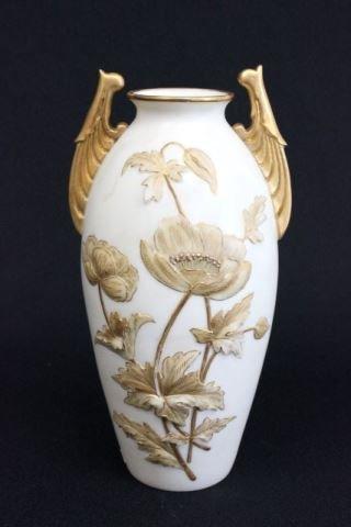 """Royal Worcester signed """"Floral"""" embossed vase"""