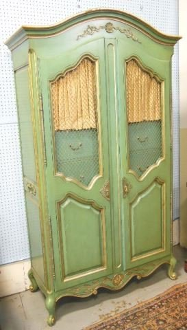 Mid century paint decorated armoire