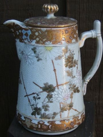 Early Coralene Nippon covered teapot