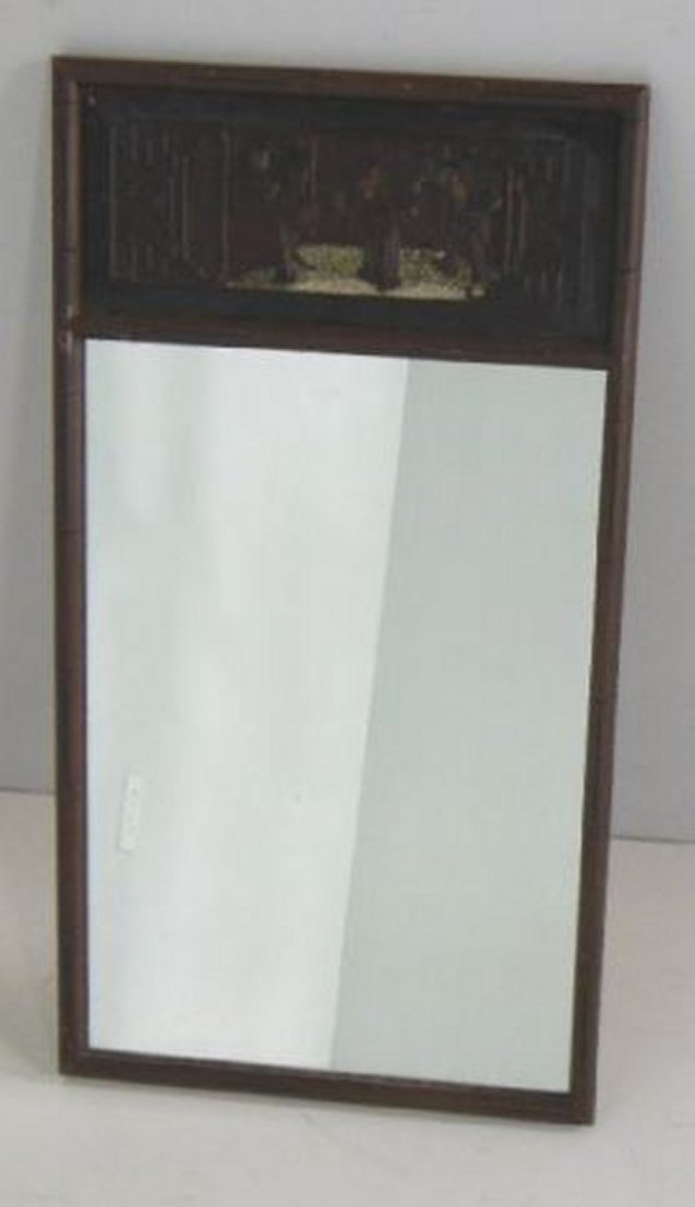 Faux bamboo Chinese figural wood mirror