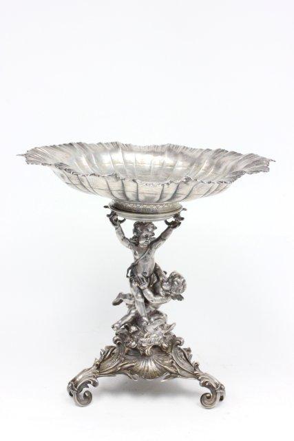 """19th c. """"800"""" silver figural 2 piece compote"""