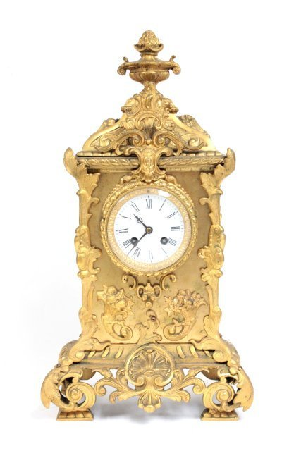 French clock in bronze case