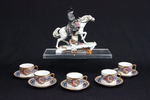 5 portrait Art Nouveau cups & saucers