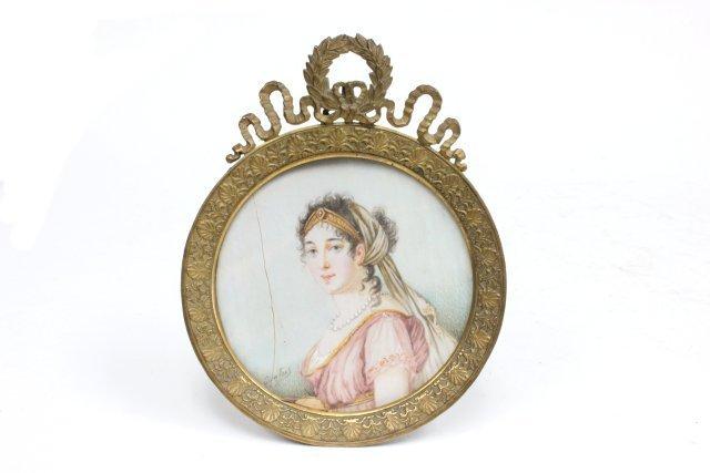 "Miniature handpainted portrait of ""Lady"" signed"