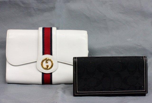 Gucci leather clutch purse & Coach checkbook cover