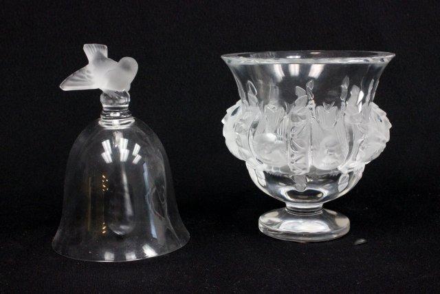 Lalique bird vase & bell