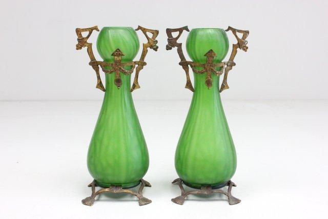 Pair green glass Art Nouveau vases