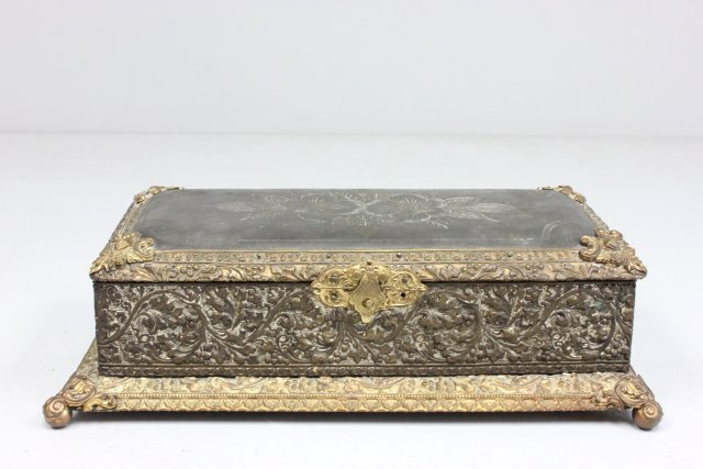 Antique metal relief box
