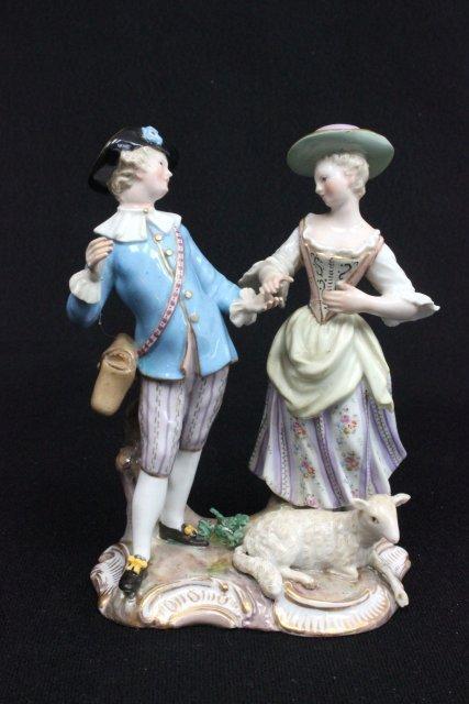 """19th c. Meissen figure """"Man, Woman, & Lamb"""""""