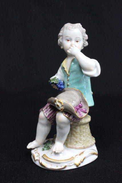 "19th c. Meissen figure ""Seated Boy"""