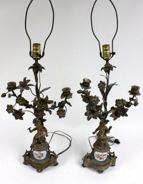 Pair 19th c. bronze cherub candelabrum