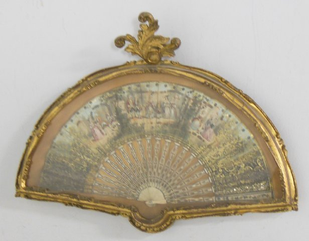 Framed French hand painted fan