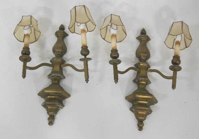 Pair brass 2 arm sconces with shades
