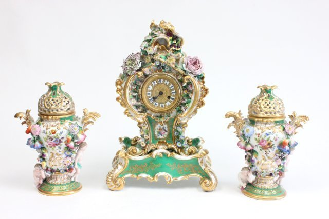 3 pc. Jacob Petit porcelain clock set