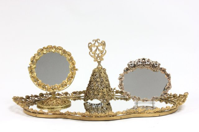 Tray with perfume bottle, mirror & lipstick