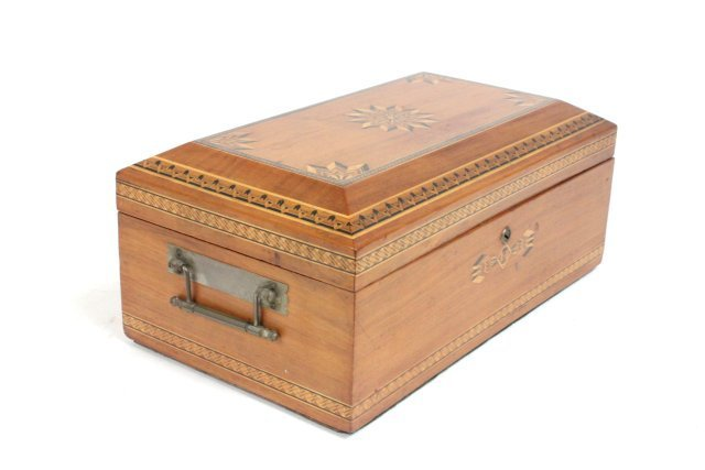 Inlaid box with sliding drawer interior