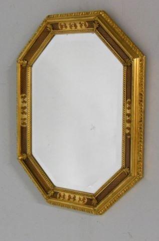 Beveled Gilt Frame Octagonal Mirror