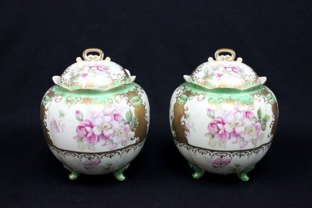 Pair covered Nippon footed vases
