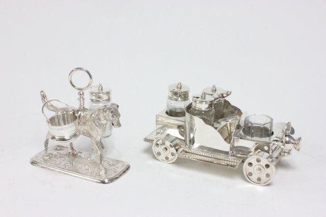 2 silverplate cruet sets