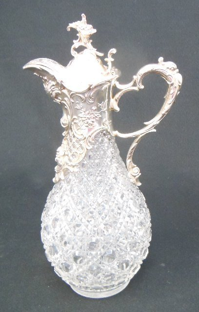 Excellent quality cut crystal & silver pitcher