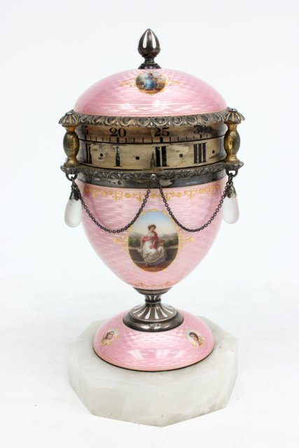 Fine Austrian silver & enamel rotary clock