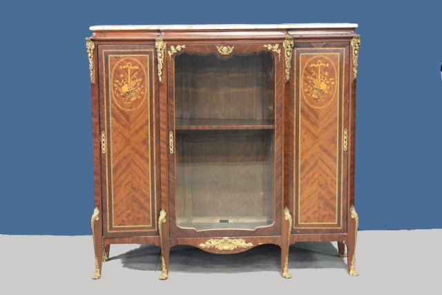 Marble top French inlaid cabinet