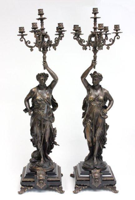 Pair of bronze New York candelabrum