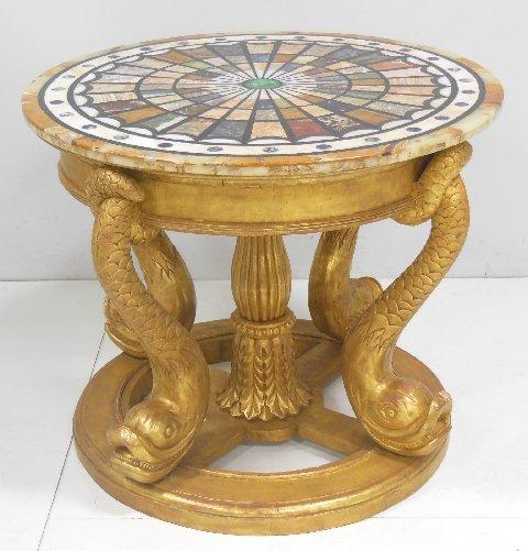 Gilt wood & specimen top round center table
