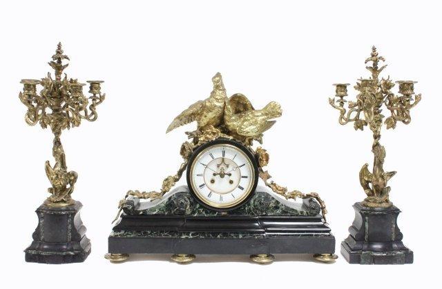 3 piece marble, slate & bronze mantle clock set
