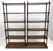 Pair of Hollywood Regency Faux Bamboo Etageres