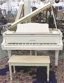 Yamaha white lacquered G3 Baby Grand piano  bench