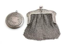 Sterling silver ladies mesh change purse  compact