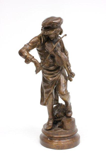 "Bronze statue of ""Man Playing Violin""-Signed Lulli"