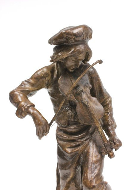 "Bronze statue of ""Man Playing Violin""-Signed Lulli - 2"