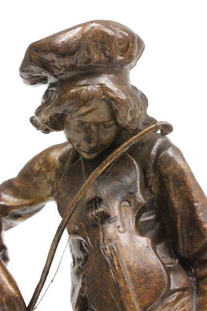 "Bronze statue of ""Man Playing Violin""-Signed Lulli - 3"