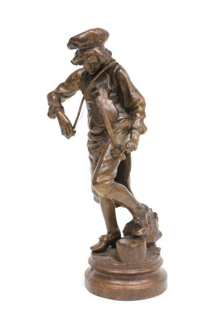 "Bronze statue of ""Man Playing Violin""-Signed Lulli - 4"