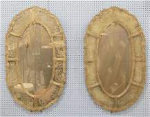 Early 20th c pair Venetian etched glass mirrors
