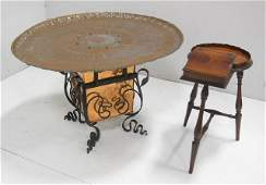 Brass tray on stand  small lift top table