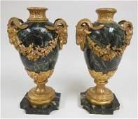 Pair Louis XV style gilt, bronze & marble urns