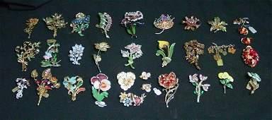 Assorted stone enamel vintage pins
