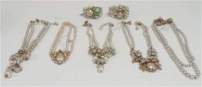 Vintage pearl  rhinestone necklaces  bracelets