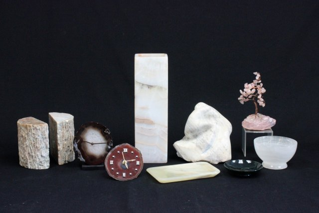 9 carved semi precious stone objects