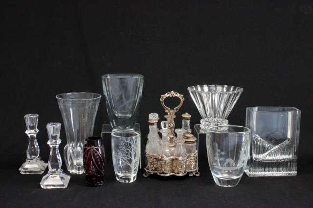 Group lot of crystals and silver plate