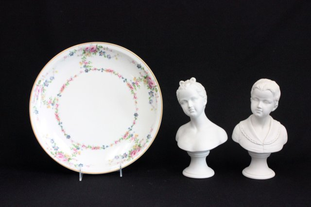 Pair Bisque Busts & Haviland, France Dish