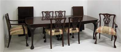 Mahogany banded dining room table with 6 chairs