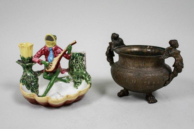 Frog Playing Mandolin & Mermaid bowl