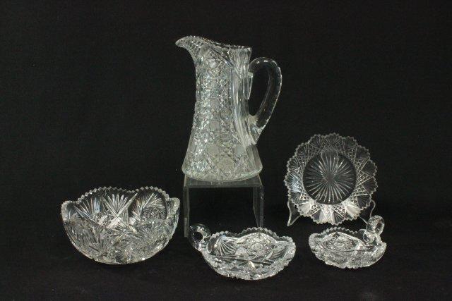 5 pieces cut glass